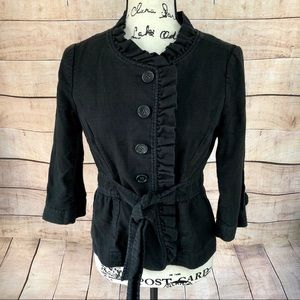 Ann Taylor LOFT Black Ruffled Jacket with Belt 4